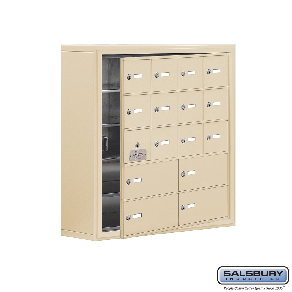 Cell Phone Storage Locker w/ Front Access Panel - 5 Door High Unit - 12 A Doors and 4 B Doors - Sandstone - Surface Mounted - Ma