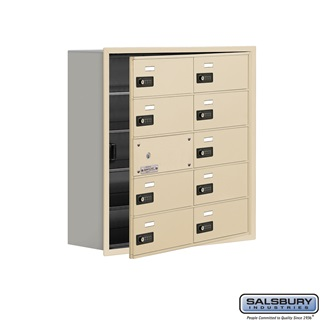Cell Phone Storage Locker w/Front Access Panel - 5 Door High Unit (8 Inch Deep Comparts.) - 10 B Doors (9 usable) - Sandstone