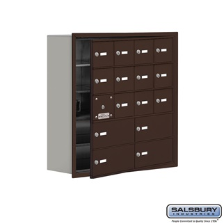 Cell Phone Storage Locker w/Front Access - 5 Door High (8 Inch Deep Comparts.) - 12 A Doors (11 usable) and 4 B Doors - Bronze