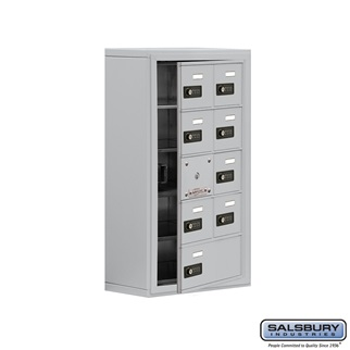 Cell Phone Storage Locker w/Front Access - 5 Door High (8 Inch Deep Comparts.) - 8 A Doors (7 usable) and 1 B Door - Aluminum