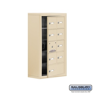 Cell Phone Storage Locker w/Front Access - 5 Door High (8 Inch Deep Comparts.) - 8 A Doors (7 usable) and 1 B Door - Sandstone