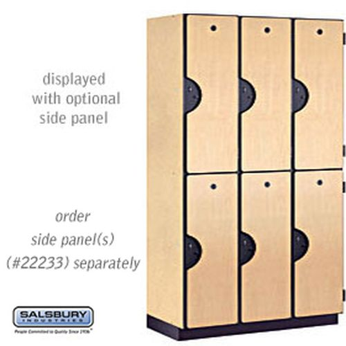 Extra Wide Designer Wood Locker - Double Tier - 3 Wide - 6 Feet High - 18 Inches Deep - Maple