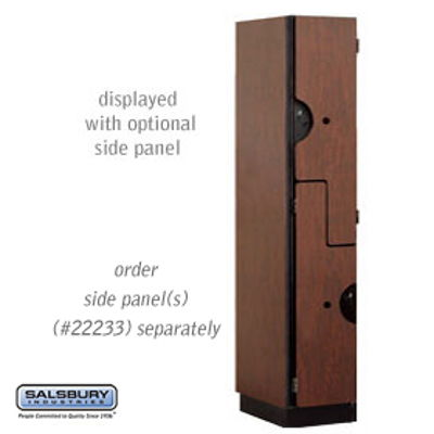 "Extra Wide Designer Wood Locker - Double Tier ""S"" Style - 1 Wide - 6 Feet High - 18 Inches Deep - Mahogany"