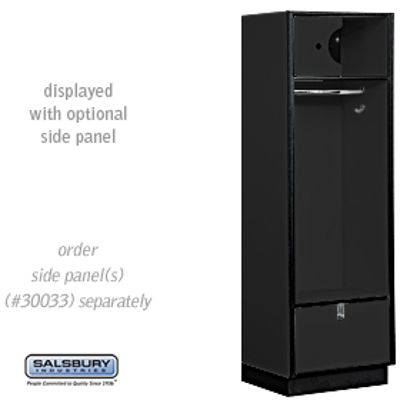 Open Access Designer Wood Locker - 18 Inches Deep - Black