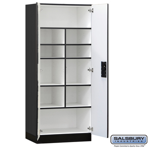 Designer Wood Storage Cabinet - Standard - 76 Inches High - 18 Inches Deep - Black