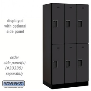 Designer Wood Locker - Double Tier - 3 Wide - 6 Feet High - 21 Inches Deep - Black