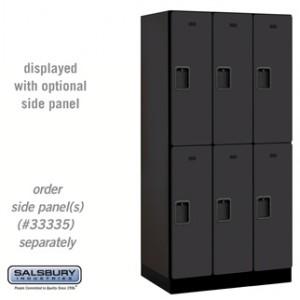 Designer Wood Locker - Double Tier - 3 Wide - 6 Feet High - 21 Inches Deep - Black