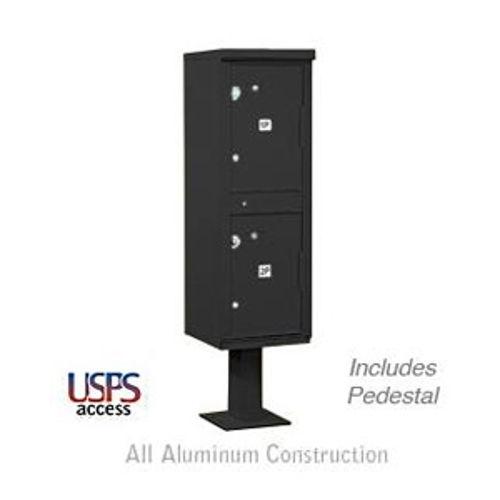 Outdoor Parcel Locker (Includes Pedestal) - 2 Compartments - Black - USPS Access
