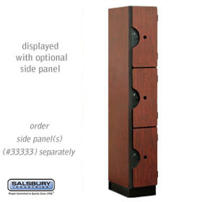 Designer Wood Locker - Triple Tier - 1 Wide - 6 Feet High - 18 Inches Deep - Mahogany