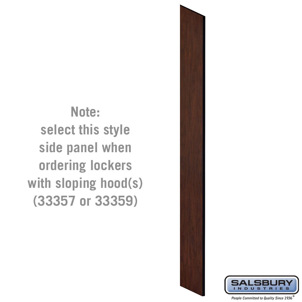 "Side Panel - for 6 Feet High - 15"" Deep Designer Wood Locker w/ Sloping Hood - Mahogany"