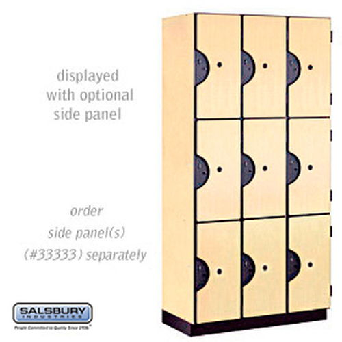 Designer Wood Locker - Triple Tier - 3 Wide - 6 Feet High - 18 Inches Deep - Maple