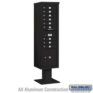 4C Pedestal Mailbox - Maximum Height Unit (72 Inches) - Single Column - 9 MB1 Doors / 1 PL - Black