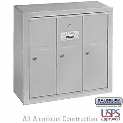 Vertical Mailbox - 3 Doors - Aluminum - Surface Mounted - USPS Access