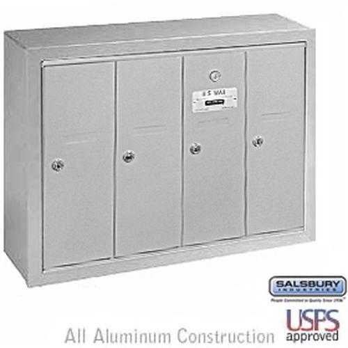 Vertical Mailbox - 4 Doors - Aluminum - Surface Mounted - USPS Access