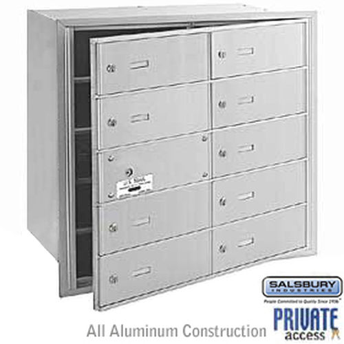 4B+ Horizontal Mailbox (Includes Master Commercial Lock) - 10 B Doors (9 usable) - Aluminum - Front Loading - Private Access