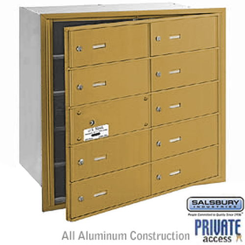4B+ Horizontal Mailbox (Includes Master Commercial Lock) - 10 B Doors (9 usable) - Gold - Front Loading - Private Access