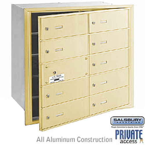 4B+ Horizontal Mailbox (Includes Master Commercial Lock) - 10 B Doors (9 usable) - Sandstone - Front Loading - Private Access
