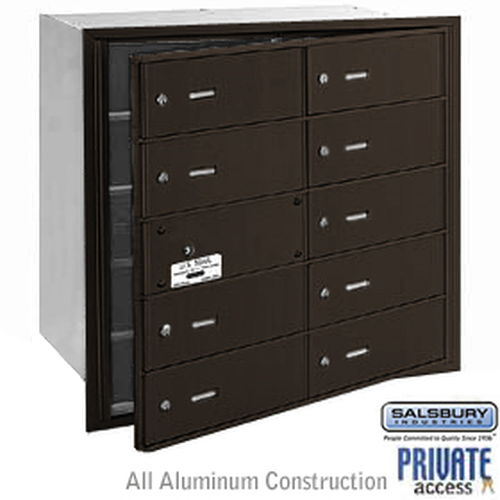 4B+ Horizontal Mailbox (Includes Master Commercial Lock) - 10 B Doors (9 usable) - Bronze - Front Loading - Private Access