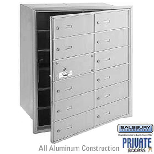 4B+ Horizontal Mailbox (Includes Master Commercial Lock) - 12 B Doors (11 usable) - Aluminum - Front Loading - Private Access