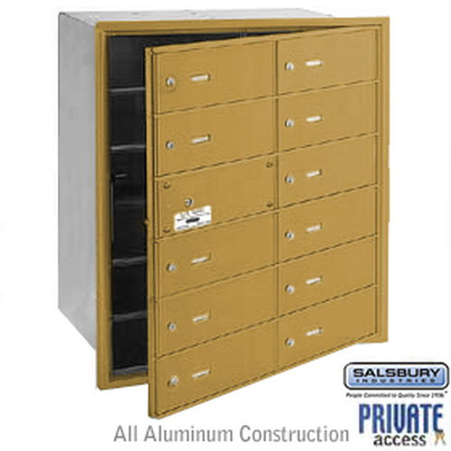 4B+ Horizontal Mailbox (Includes Master Commercial Lock) - 12 B Doors (11 usable) - Gold - Front Loading - Private Access