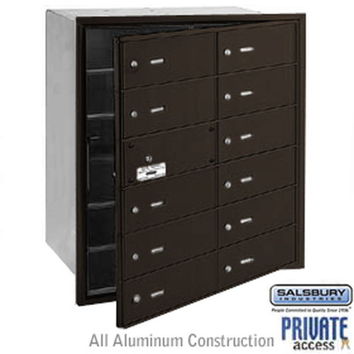 4B+ Horizontal Mailbox (Includes Master Commercial Lock) - 12 B Doors (11 usable) - Bronze - Front Loading - Private Access