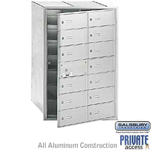 4B+ Horizontal Mailbox (Includes Master Commercial Lock) - 14 B Doors (13 usable) - Aluminum - Front Loading - Private Access