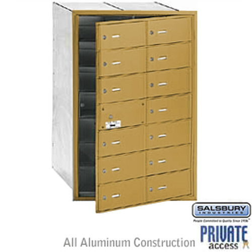 4B+ Horizontal Mailbox (Includes Master Commercial Lock) - 14 B Doors (13 usable) - Gold - Front Loading - Private Access
