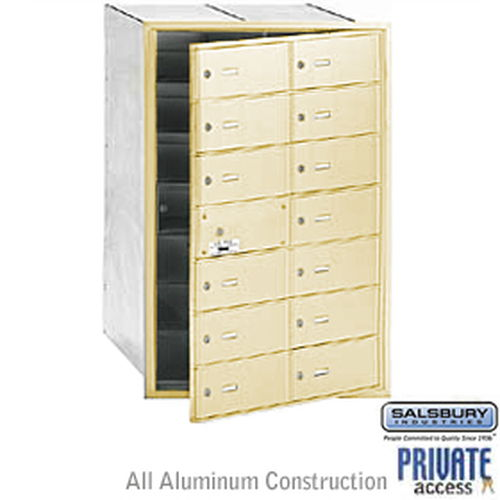 4B+ Horizontal Mailbox (Includes Master Commercial Lock) - 14 B Doors (13 usable) - Sandstone - Front Loading - Private Access