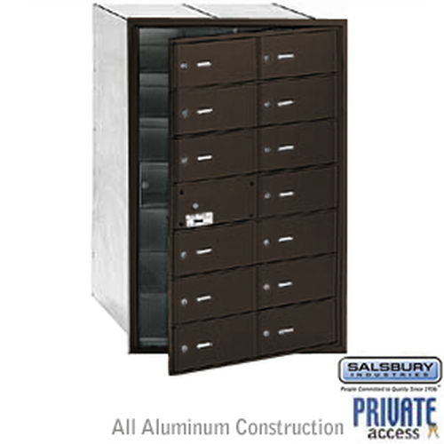 4B+ Horizontal Mailbox (Includes Master Commercial Lock) - 14 B Doors (13 usable) - Bronze - Front Loading - Private Access