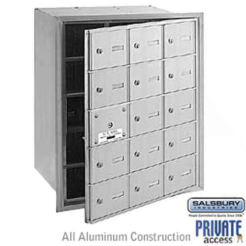 4B+ Horizontal Mailbox (Includes Master Commercial Lock) - 15 A Doors (14 usable) - Aluminum - Front Loading - Private Access