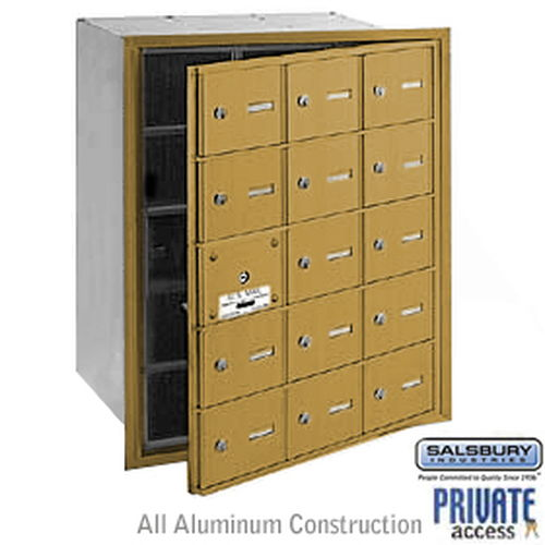4B+ Horizontal Mailbox (Includes Master Commercial Lock) - 15 A Doors (14 usable) - Gold - Front Loading - Private Access