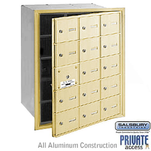 4B+ Horizontal Mailbox (Includes Master Commercial Lock) - 15 A Doors (14 usable) - Sandstone - Front Loading - Private Access