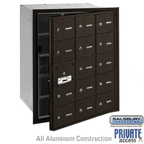 4B+ Horizontal Mailbox (Includes Master Commercial Lock) - 15 A Doors (14 usable) - Bronze - Front Loading - Private Access