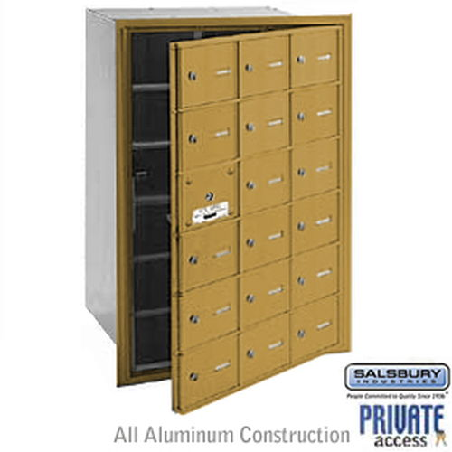 4B+ Horizontal Mailbox (Includes Master Commercial Lock) - 18 A Doors (17 usable) - Gold - Front Loading - Private Access