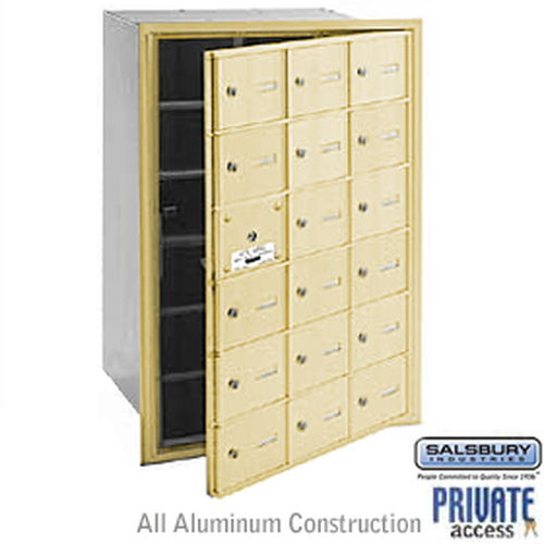 4B+ Horizontal Mailbox (Includes Master Commercial Lock) - 18 A Doors (17 usable) - Sandstone - Front Loading - Private Access