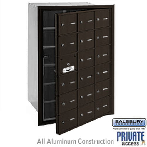 4B+ Horizontal Mailbox (Includes Master Commercial Lock) - 18 A Doors (17 usable) - Bronze - Front Loading - Private Access