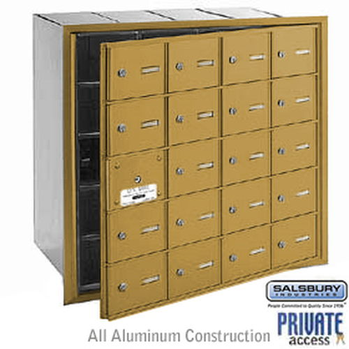 4B+ Horizontal Mailbox (Includes Master Commercial Lock) - 20 A Doors (19 usable) - Gold - Front Loading - Private Access