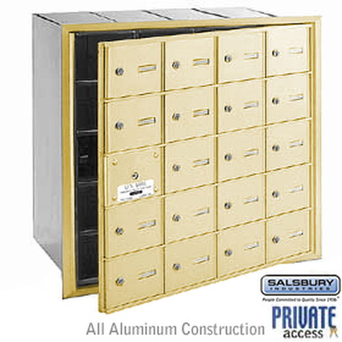 4B+ Horizontal Mailbox (Includes Master Commercial Lock) - 20 A Doors (19 usable) - Sandstone - Front Loading - Private Access