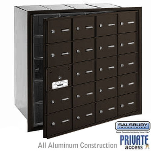 4B+ Horizontal Mailbox (Includes Master Commercial Lock) - 20 A Doors (19 usable) - Bronze - Front Loading - Private Access