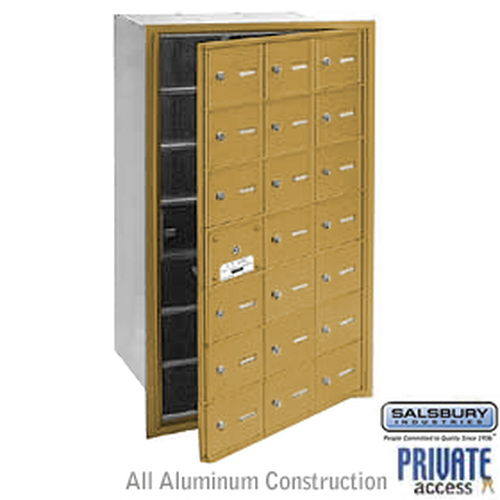 4B+ Horizontal Mailbox (Includes Master Commercial Lock) - 21 A Doors (20 usable) - Gold - Front Loading - Private Access