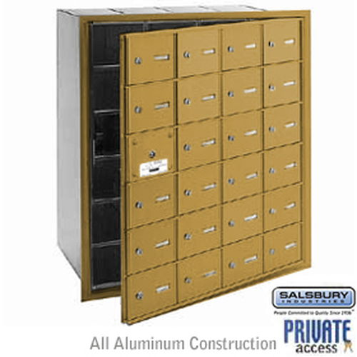 4B+ Horizontal Mailbox (Includes Master Commercial Lock) - 24 A Doors (23 usable) - Gold - Front Loading - Private Access
