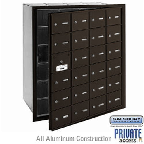 4B+ Horizontal Mailbox (Includes Master Commercial Lock) - 24 A Doors (23 usable) - Bronze - Front Loading - Private Access