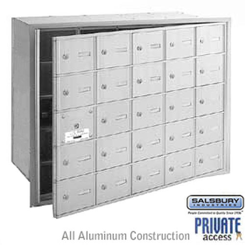 4B+ Horizontal Mailbox (Includes Master Commercial Lock) - 25 A Doors (24 usable) - Aluminum - Front Loading - Private Access