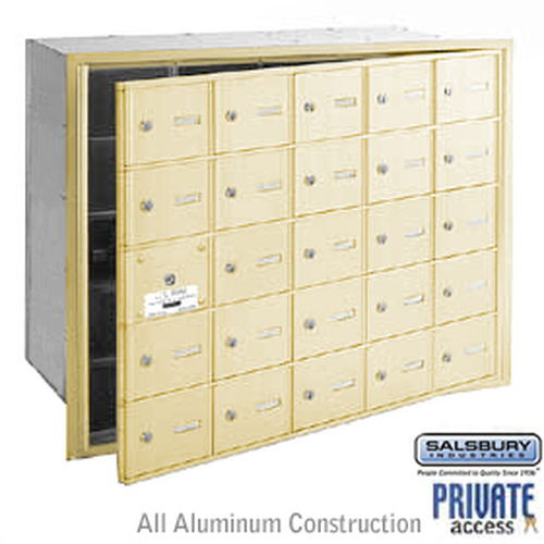 4B+ Horizontal Mailbox (Includes Master Commercial Lock) - 25 A Doors (24 usable) - Sandstone - Front Loading - Private Access