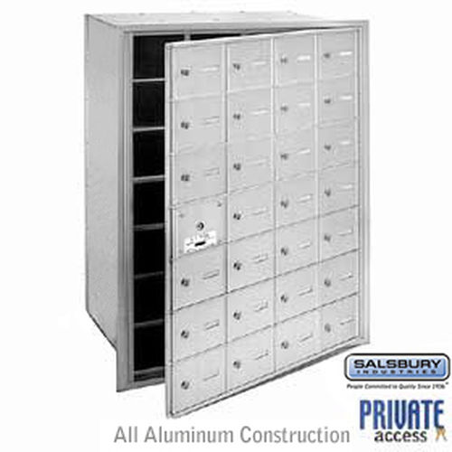 4B+ Horizontal Mailbox (Includes Master Commercial Lock) - 28 A Doors (27 usable) - Aluminum - Front Loading - Private Access