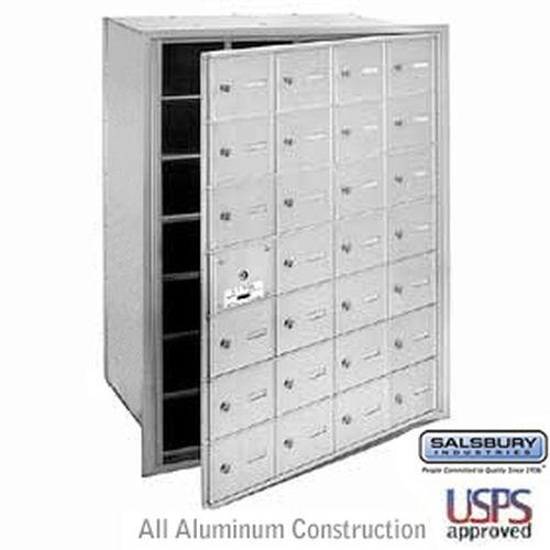4B+ Horizontal Mailbox - 28 A Doors (27 usable) - Aluminum - Front Loading - USPS Access