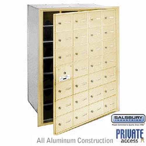 4B+ Horizontal Mailbox (Includes Master Commercial Lock) - 28 A Doors (27 usable) - Sandstone - Front Loading - Private Access
