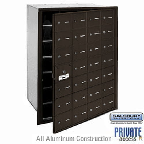 4B+ Horizontal Mailbox (Includes Master Commercial Lock) - 28 A Doors (27 usable) - Bronze - Front Loading - Private Access
