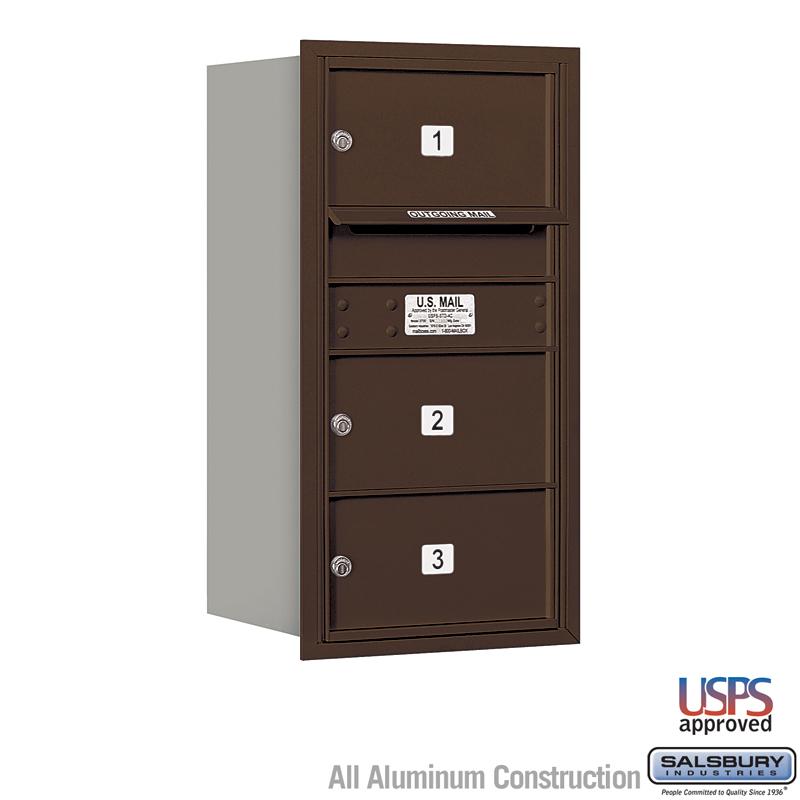 4C Horizontal Mailbox - 8 Door High Unit (30 1/2 Inches) - Single Column - 3 MB2 Doors - Bronze - Rear Loading - USPS Access