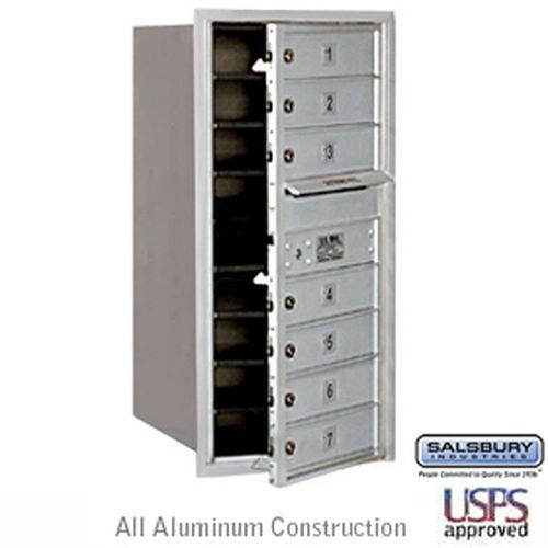 4C Horizontal Mailbox - 9 Door High Unit - Single Column - 7 MB1 Doors - Aluminum - Front Loading - USPS Access